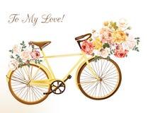 Gullig vektorinbjudan med den gula cykeln och blommor vektor illustrationer