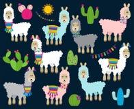 Gullig vektorsamling av lamor, vikunjaullar och Alpacas stock illustrationer