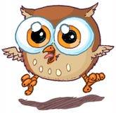 Gullig vektortecknad film Owl Mascot Jumping och hoa Royaltyfri Bild