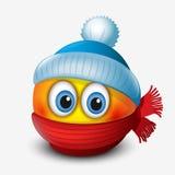 Gullig vinteremoticon, bärande lock och halsduk, emoji, smiley - vektorillustration vektor illustrationer