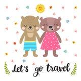Gullig vykort med två roliga björnar tecknad hand Arkivfoto