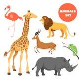 Gulliga afrikanska djur ställde in för ungar i tecknad filmstil Fotografering för Bildbyråer