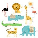 gulliga afrikanska djur Vektorn ställde in av barns teckningar Traditionella etniska och stam- motiv för prydnader, Klottra stil vektor illustrationer