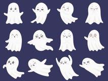 Gulliga allhelgonaaftonspökar Skrämd rolig spöke, nyfiken spöke och le den spöklika illustrationen för teckentecknad filmvektor vektor illustrationer