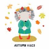 Gulliga Autumn Hedgehog royaltyfri illustrationer