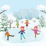 Gulliga barn åker skridskor i parkera royaltyfri illustrationer