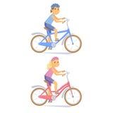 Gulliga barn för cyklist Arkivfoto