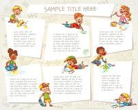 Gulliga barn som drar bilder tillsammans stock illustrationer