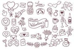 Gulliga beståndsdelar för valentindagklotter Arkivfoton