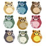 Gulliga björnar för modeller och garnering Matryoshka stil stock illustrationer