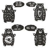 Gulliga björnar i konstnärlig linocutstil Träsnittdjurtecken med romantiska anförandebubblor Designbeståndsdelar för etiketter, f vektor illustrationer