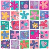 Gulliga blommor och hjärtabakgrund Arkivfoton
