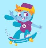 Gulliga Bunny Doing Tricks på skateboarden Royaltyfria Bilder