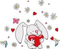 Gulliga Bunny With Heart Arkivbilder