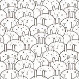 Gulliga Bunny Vector Pattern Background roligt klotter stock illustrationer