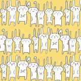 Gulliga Bunny Vector Pattern Background roligt klotter stock illustrationer