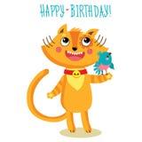 Gulliga Cat Character Greetings Card Roligt födelsedaghälsningkort royaltyfri illustrationer