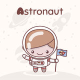 Gulliga chibikawaiitecken Alfabetyrken Märka A - astronaut Royaltyfri Foto