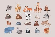 Gulliga djur med behandla som ett barn uppsättningen tvättbjörn hjort, räv, giraff, apa, koala, björn, ko, kanin, sengångare, eko royaltyfri illustrationer