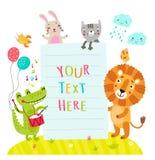 Gulliga djur och att bilda formtext stock illustrationer