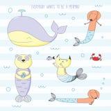 Gulliga djur som är sjöjungfruar vektor illustrationer