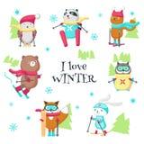 Gulliga djur som skidar i isolerad illustration för vinter vektor stock illustrationer