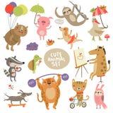 Gulliga djuruppsättningillustrationer med tecken Royaltyfri Fotografi