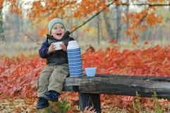 gulliga drinkar för pojke little tea Royaltyfri Fotografi