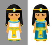 Gulliga egyptiska flickor Nationell klänning, traditionell kläder stock illustrationer