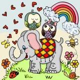 Gulliga elefant- och parugglor på naturbakgrund royaltyfri illustrationer