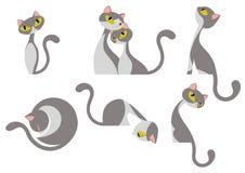 Gulliga eleganta Gray White Cat Design Set vektor illustrationer