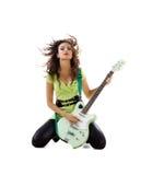 gulliga elektriska gitarrkvinnor Royaltyfria Foton