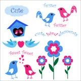 gulliga element för fågel vektor illustrationer