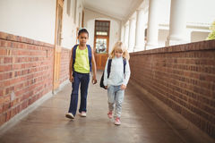 Gulliga elever som går med skolväskor på korridoren Royaltyfri Fotografi