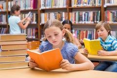 Gulliga elever som läser i arkiv Royaltyfri Bild