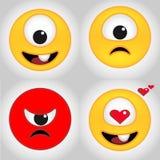 Gulliga enögda emoticons är passande för garneringen av klistermärkear och emblem royaltyfri illustrationer