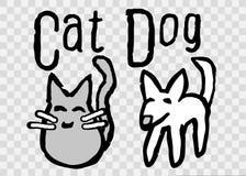 Gulliga enkla Cat And Dog Cartoon Illustration stock illustrationer