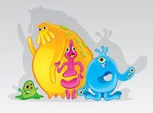Gulliga färgrika monster Royaltyfri Illustrationer