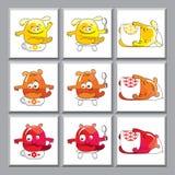 Gulliga färgrika monstersymboler Fotografering för Bildbyråer