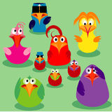 Gulliga fåglar, familjfrågor. Fotografering för Bildbyråer
