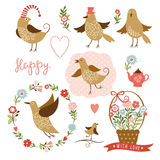 Gulliga fåglar, grafiska beståndsdelar för ferie, vektorcolle royaltyfri illustrationer
