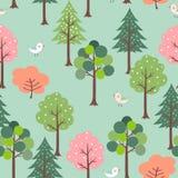 Gulliga fåglar i den sömlösa modellen för färgrik skog för ungeprodukt, t-skjorta, mode, tyg, textil, tryck eller tapet royaltyfri illustrationer