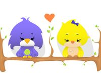 Gulliga fåglar på en filial med hjärtaform mellan, vektorillustration royaltyfri illustrationer