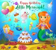 Gulliga födelsedagdesignbeståndsdelar royaltyfri illustrationer