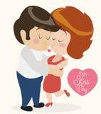 Gulliga förälskade par som kysser sig i Retro stil, vektorillustration Royaltyfri Bild