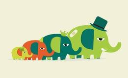 Gulliga familjelefanter Arkivfoto