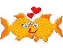 Gulliga fiskpar som är förälskade med hjärta Royaltyfria Foton
