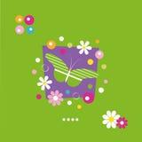 Gulliga fjärilsblommor och prickhälsningkort Royaltyfri Bild