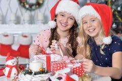 Gulliga flickor med gåvor Fotografering för Bildbyråer