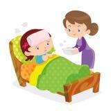 Gulliga flickor tar omsorg av den sjuka modern stock illustrationer